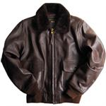 The Alpha Industries G-1 Leather Jacket, Style # MLG21110C1, Brown, Aviator Jackets