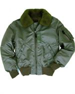 Alpha Jackets MJB23010C1 - B-15 Flight Jacket, Sage Green - Aviator Jackets